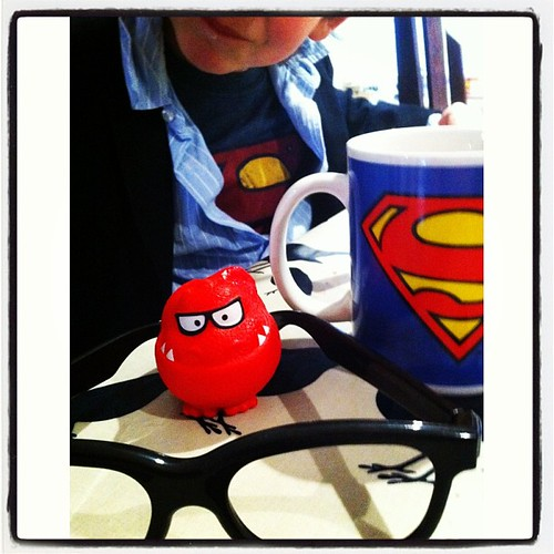 Clark Kent/Superman eats his breakfast and gets ready for Red Nose Day 2013. #rednoseday #squareready by MAStapleton