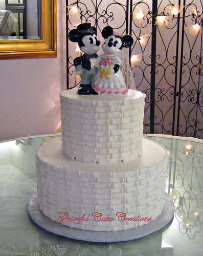 Simple Basket Weave Wedding Cake with Mickey and Minnie Cake Topper by Graceful Cake Creations