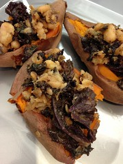 Sauteed Beand & Green Stuffed Sweet Potatoes!!!