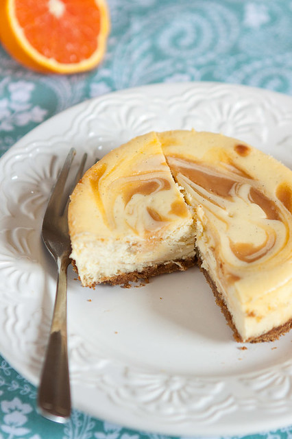 Orange Swirled Vanilla Bean Cheesecakes