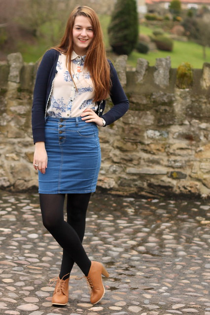 Navy cardigan, blue china print blouse, denim pencil skirt, lace up ankle boots
