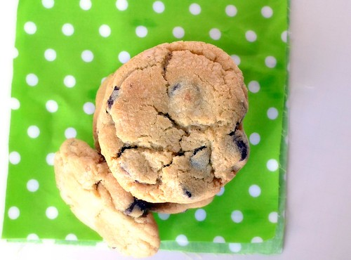 chewy dense chocolate chip cookies