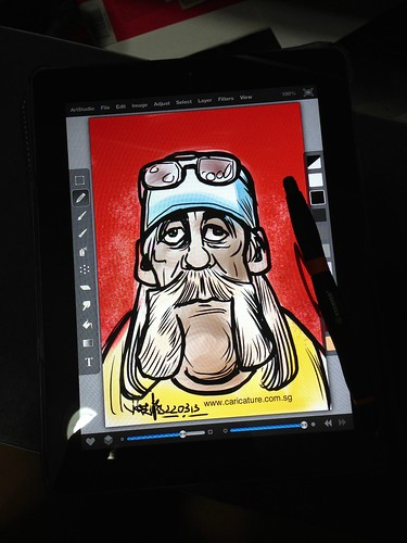 Hulk Hogan digital caricature sketch on iPad with Stabilo stylus