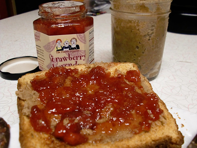 Pecan Butter and Strawberry Lavender Jam on Toast
