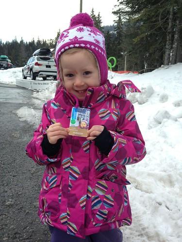 Elaine and her ski pass