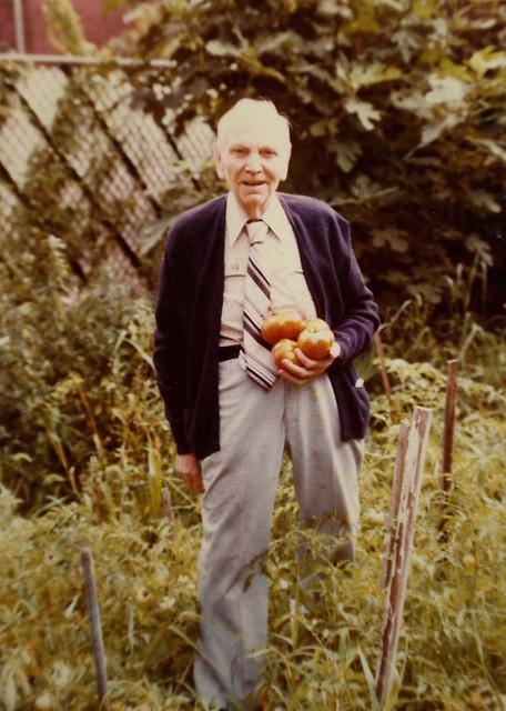 1977 Grandpa in his garden so happy