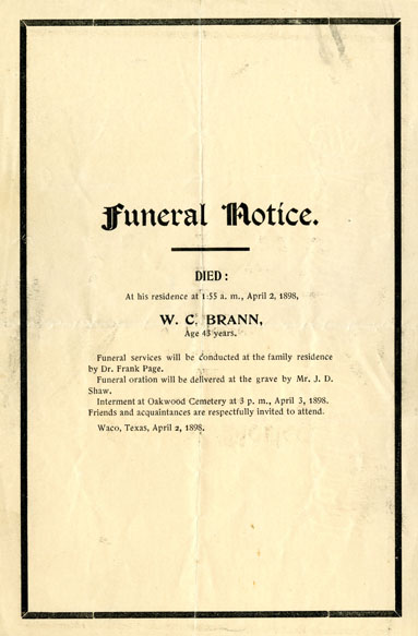 William Cowper Brann funeral notice, 1898