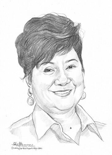 Pencil portrait for Chinese Swimming Club Mrs Jenny Chew - 22