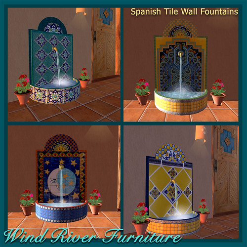 Spanish Tile Wall Fountains by Teal Freenote
