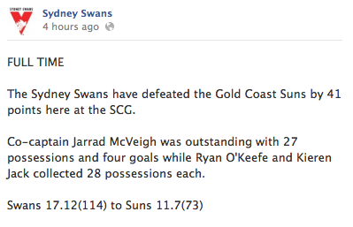 Swans Win v Gold Coast Suns