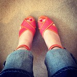 Lanvin orange & pink wedges from Last Call in Potomac Mills in Virginia