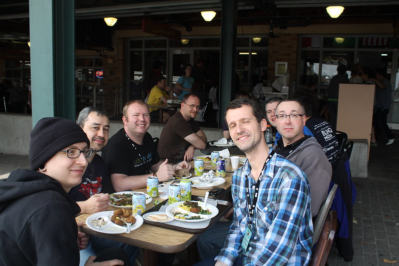Ruby Midwest organzisers, Steve Klabnik, Ashe Dryden, and me having lunch.