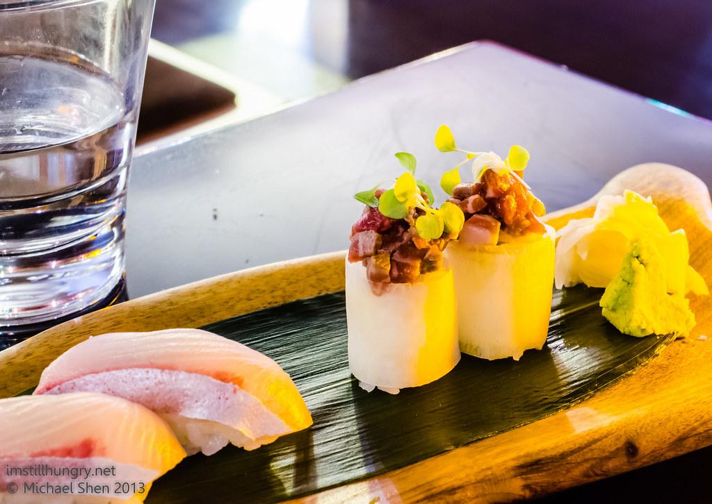 Tokonoma beef tartare w/apple skin sushi