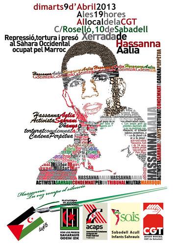 Cartell xerrada Hassanna(Palestina) 9 d´abril a Sabadell