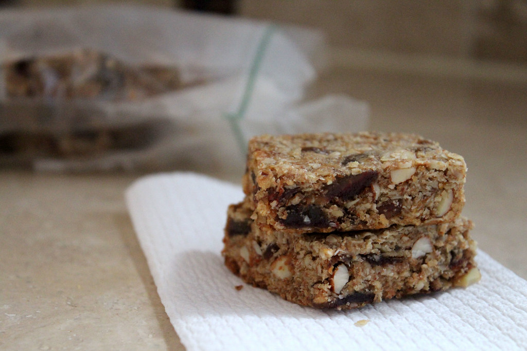 orange, almond, date granola bars