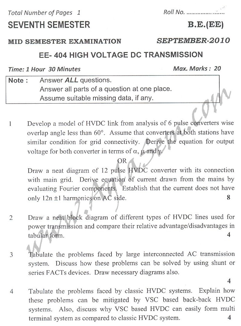 DTU Question Papers 2010 – 7 Semester - Mid Sem -   EE-404