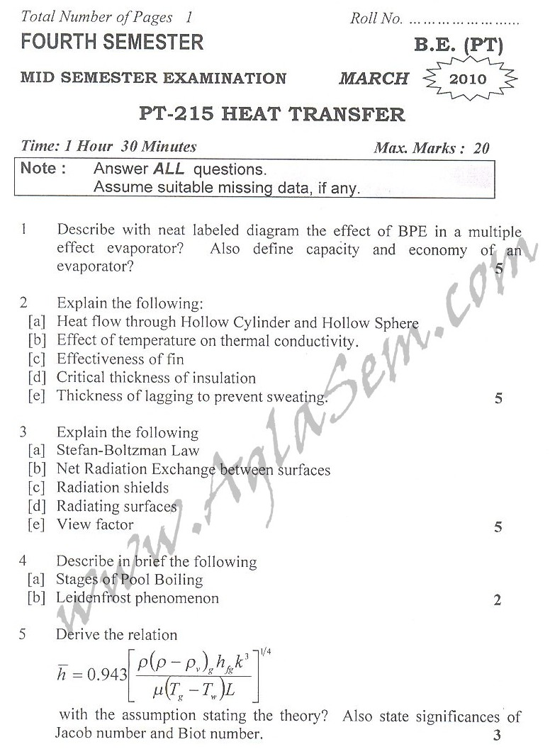 DTU Question Papers 2010 – 4 Semester - Mid Sem - PT-215