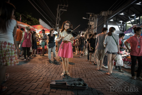 street music art thailand student asia market violin tips chiangmai violinist