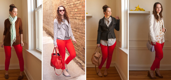 april outfits, red pants four ways, ways to wear bright pants, outfit ideas for red pants, j.crew factory winnie pants, remix, previously on, re-wear, bright skinny dress pants