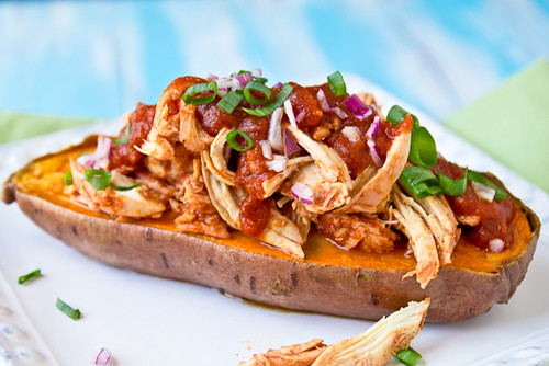 BBQ Chicken Stuffed Baked Sweet Potatoes