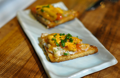 UNI SHRIMP TOAST SEA URCHIN, SHRIMP PASTE TOAST, ROCOTO HONEY SAUCE