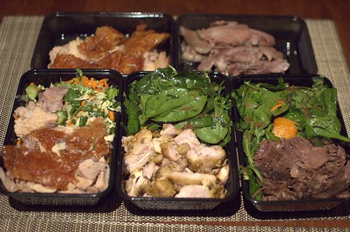 Crispy pork, roast lamb, crispy pork & Vietnamese salad, marinated chicken & pumpkin salad, Wagyu beef & pumpkin salad