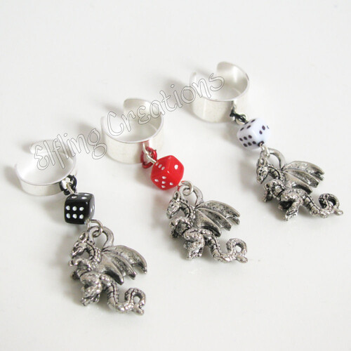 Dragon and Dice Cartilage Ear Cuffs