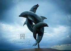 Escultura de la amistad, #delfines bailarines, 'Dancing #Dolphins Fountain'  El uso de los delfines se inspira en un mito de los indios Chumash en la que la Diosa de la tierra, Hutash crea un puente arco iris, Wishtoyo, para ayudar a los indios de cruza