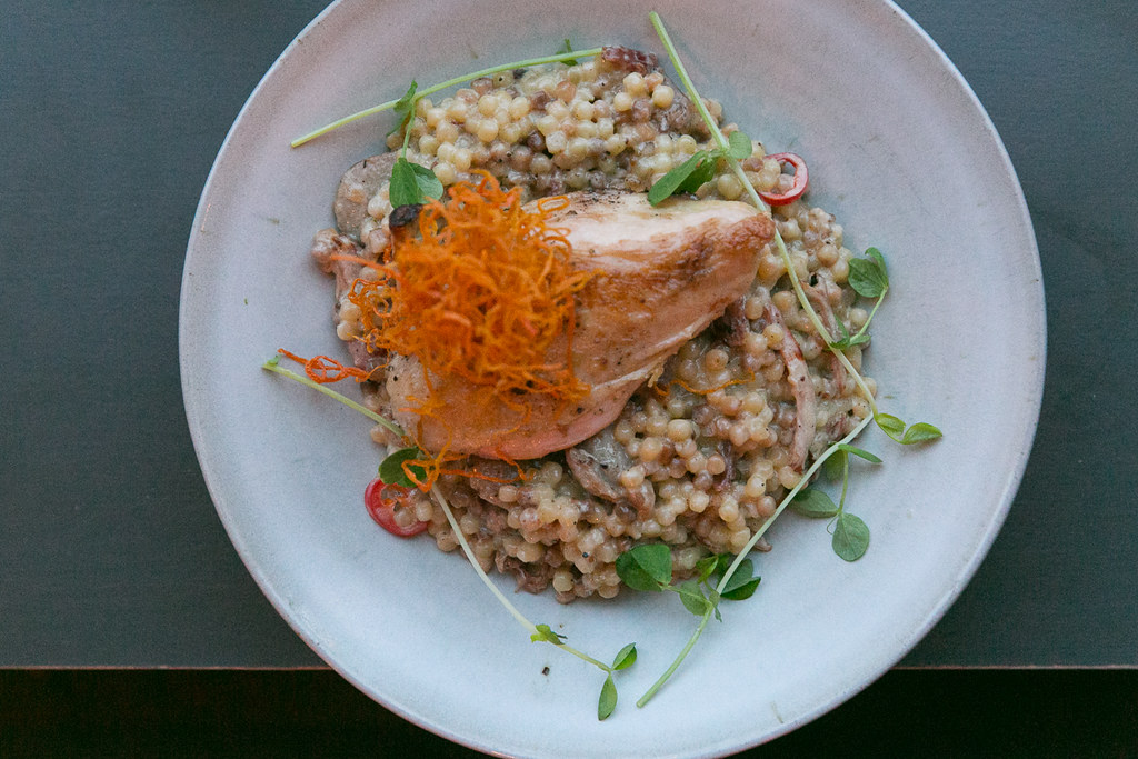 Chicken – ($26) Italian sausage, smoked ham hock, creamy fregola, heirloom carrot