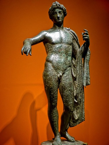 Apollo with elaborate hairstyle in a strong contrapposto stance  Roman 1st - 2nd century CE Bronze by mharrsch