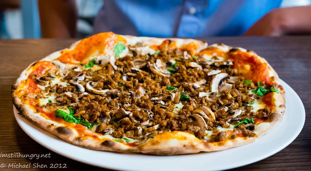 GPO Pizza By Wood Salsiccia pizza - tomato base, mozzarella, Italian sausage mince, mushrooms & spinach