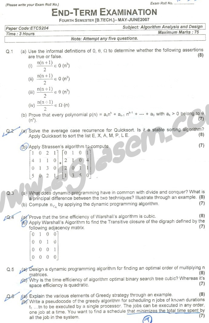 GGSIPU Question Papers Fourth Semester – end Term 2007 – ETCS_202/ETCS_204