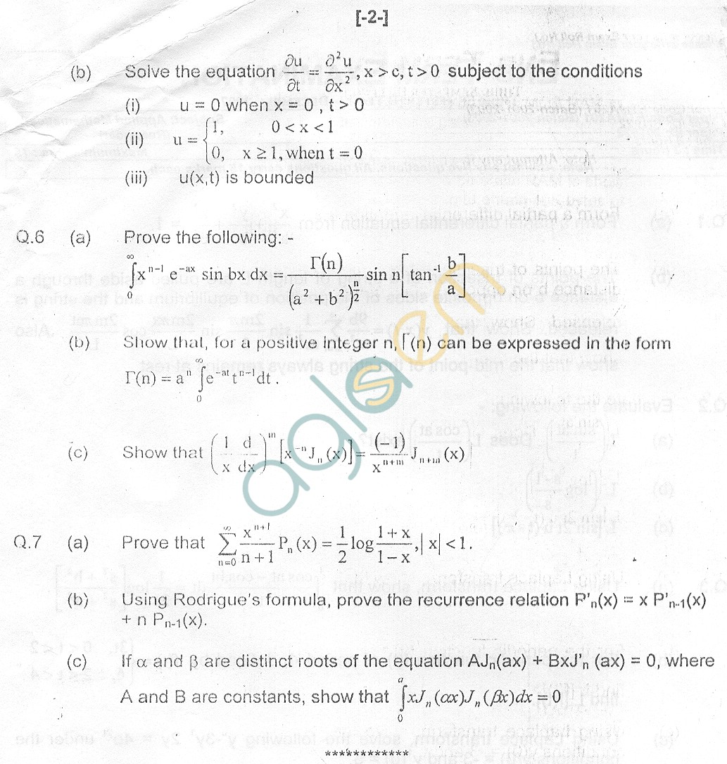 GGSIPU Question Papers Third Semester – End Term 2007 – ETMA-201