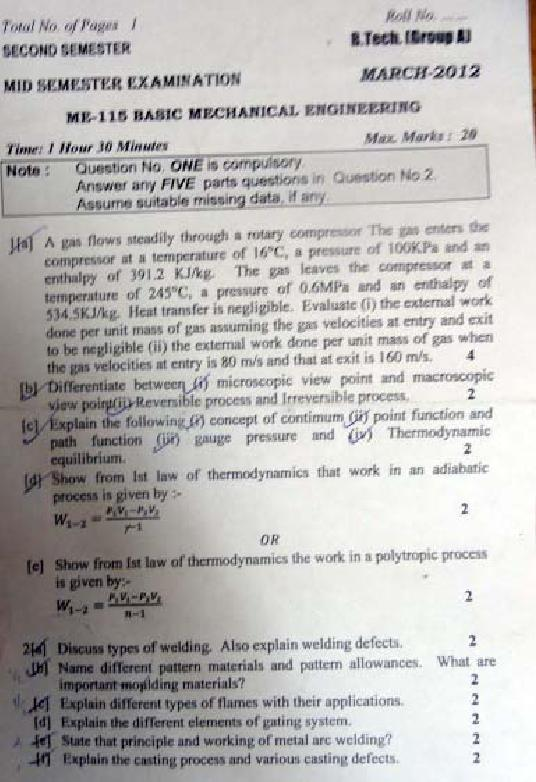 DTU Question Papers 2011 - 2 Semester - Mid Sem - Group A 2 Semester : Group B 1 Semester