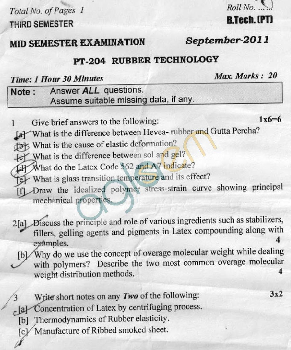 DTU Question Papers 2011 - 3 Semester - Mid Sem - PT-204
