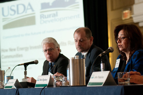 The U.S. Department of Agriculture (USDA) Rural Development, Electric Program Rural Utilities Service Assistant Administrator Nivin Elgohary, right, speaks at the 2013 Agricultural Outlook Forum in Arlington, VA on Friday, Feb. 22, 2013. USDA photo by Lance Cheung.