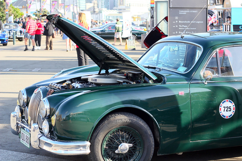 Thursday, February 21: The Great British Car Rally set up on the Wellington waterfront.