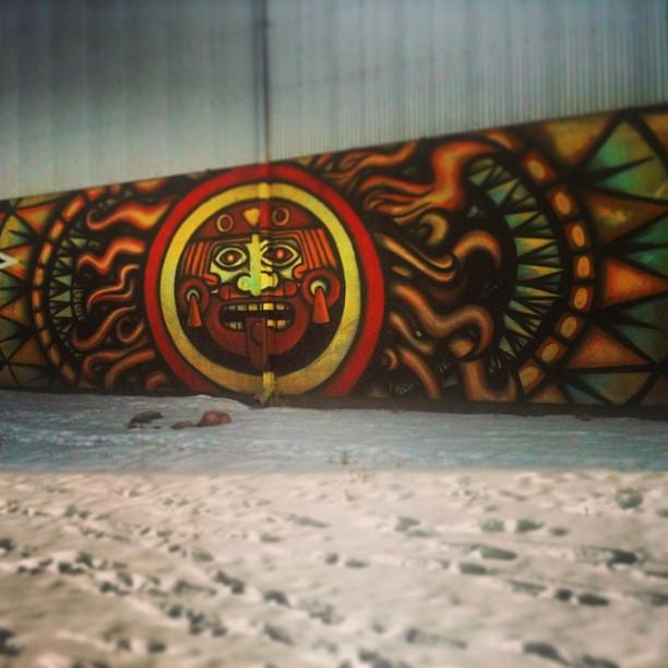 Santa fe graffiti expedition aztec sun god santafe for Aztec mural painting