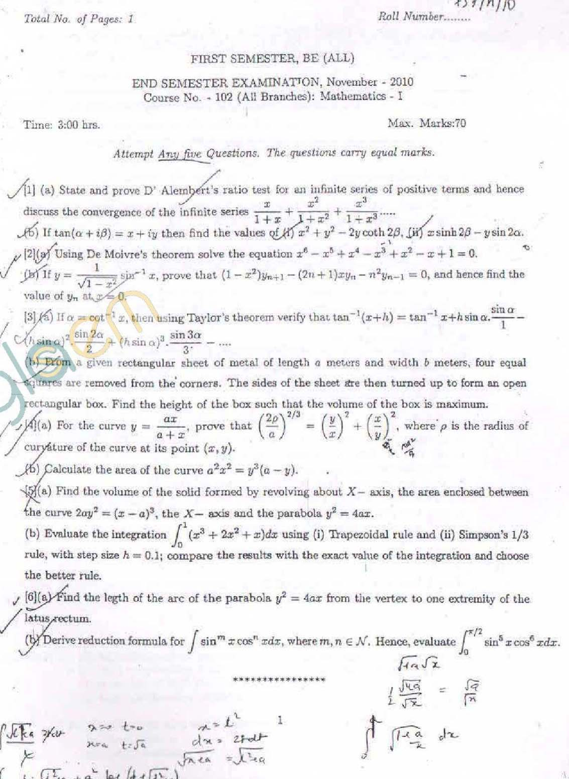 NSIT: Question Papers 2010 – 1 Semester - End Sem - All Branches-102