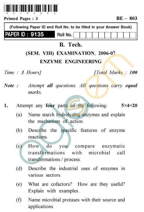 UPTU B.Tech Question Papers -BE-803 - Enzyme Engineering