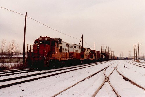 Eastbound Illinois Central Gulf transfer train traveling over the Belt Railway of Chicago.  Chicago Illinois.  January 1986. by Eddie from Chicago