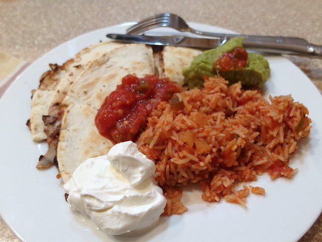 Black Bean Quesadillas with Salsa Rice