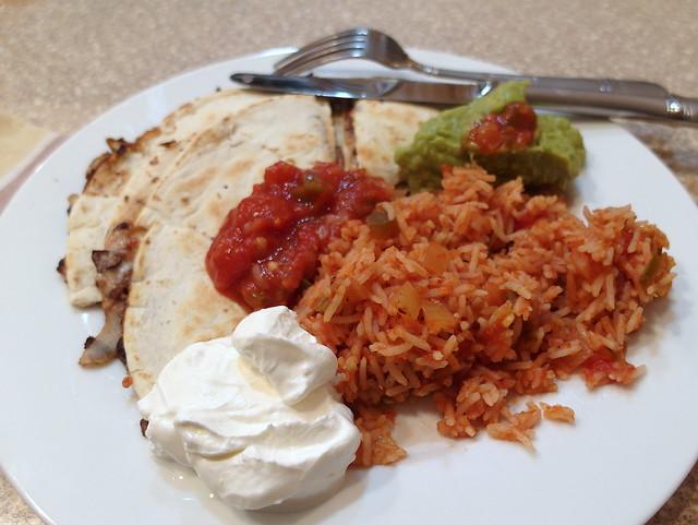 Black Bean Quesadillas with Salsa Rice