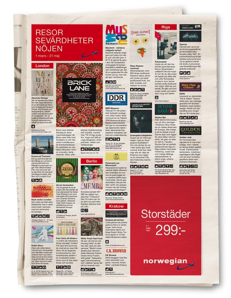 En nöjesguide över vad som händer i London, Berlin, Krakow och Riga i veckan. Helsidan publicerades i DN.