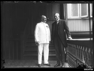Rear Admiral F L Gilly and NSW Premier Sir George Fuller at Parliament House, Sydney