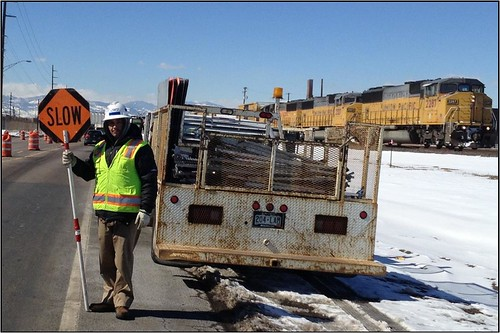 Photo of employee of Rocky Mountain Flagging, a small business working on the Eagle P 3 Project, on Smith Road