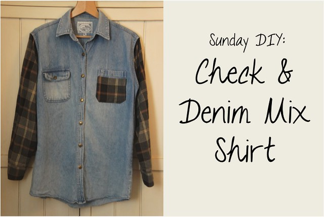 check and denim mixed shirt diy 3