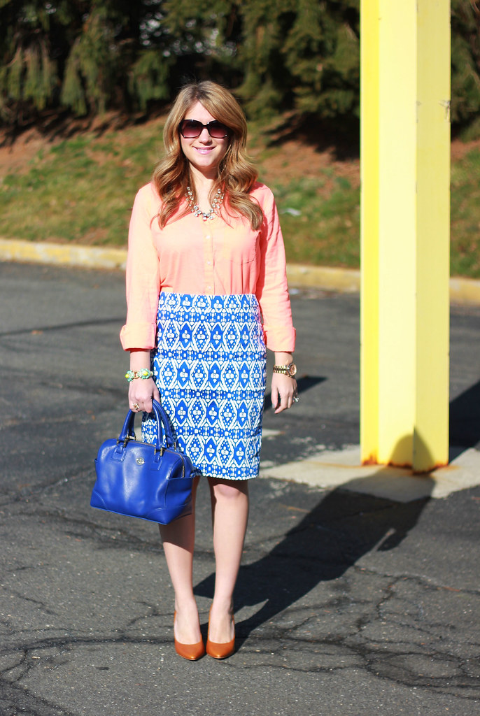 orange and blue work outfit