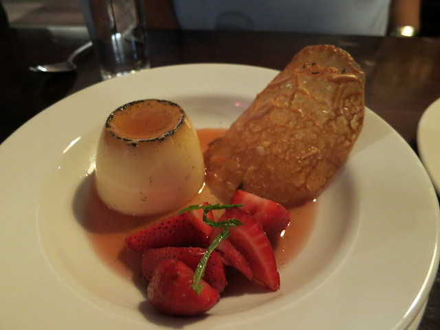 Station Hotel: Creme caramel with poached strawberries and almond dentelle