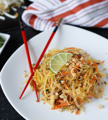 Spaghetti Squash Pad Thai, see more at http://homemaderecipes.com/healthy/11-vegetable-spiralizer-recipes